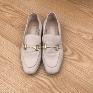 Soft pink faux suede loafers